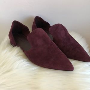 Vince damris side cutout pointed toe suede flats